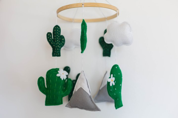 Making a cactus mobile for baby